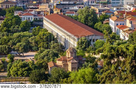 Ancient Agora With Church Of Holy Apostles And Stoa Of Attalos, Athens, Greece. Aerial Scenic View O