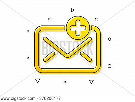 Add Message Correspondence Sign. New Mail Icon. E-mail Symbol. Yellow Circles Pattern. Classic New M
