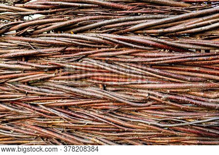Wicker Fence Of Twigs, Branches. Background Texture Natural Closeup. Wooden Background Made Of Twigs