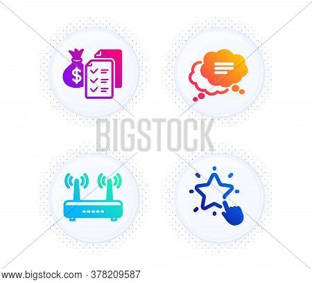 Accounting Wealth, Text Message And Wifi Icons Simple Set. Button With Halftone Dots. Ranking Star S