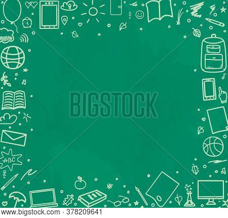 Back To School. Abstract Blackboard. Sketchy Background With Hand Drawn School Supplies. Banner Desi