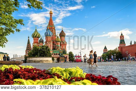 Moscow - July 20, 2020: Kremlin And St Basil`s Cathedral On Red Square In Moscow, Russia. This Place
