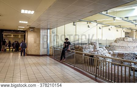 Athens - May 9, 2018: Ancient Greek Ruins Inside Monastirion (monastiraki) Metro Station In Athens C