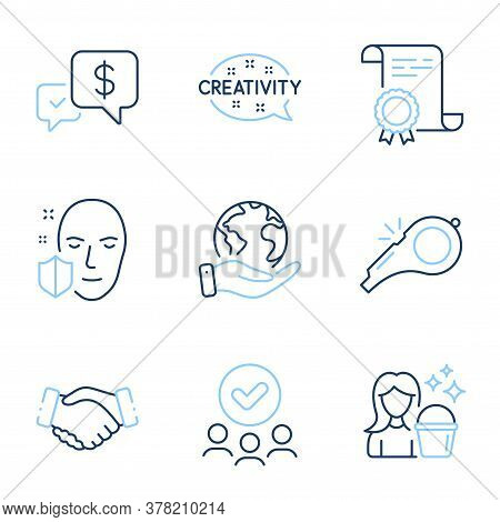 Handshake, Creativity And Cleaning Line Icons Set. Diploma Certificate, Save Planet, Group Of People