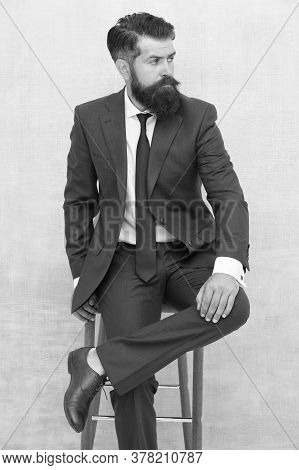Classy But Modern. Businessman Sit On Chair. Elegant Businessman Or Entrepreneur. Businessman Wear F