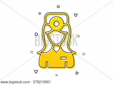 Health Eye Sign. Oculist Doctor Icon. Optometry Clinic Symbol. Yellow Circles Pattern. Classic Oculi