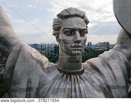 Kyiv, Ukraine - July 26, 2020. Aerial View Of The Motherland Monument In Kyiv, Ukraine