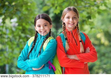 Vacation Travel. Happy Children Smile Natural Outdoors. Summer Vacation. Leisure And Free Time. Enjo