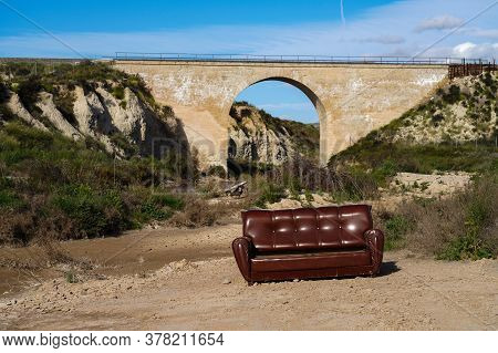Bridge With A Couch Near Ascoy In The Murcia Region Of Spain, Spain