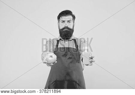 Fresh Juice. Squeezing Smoothie. Delivering Fresh Vitamins. Hipster Smoothie Beverage. Man Bearded C