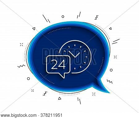 24 Hour Time Service Line Icon. Chat Bubble With Shadow. Call Support Sign. Feedback Chat Symbol. Th