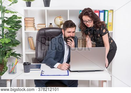 Business Couple Working. Couple In Office. Experience Exchange. Man And Elegant Woman Boss Manager D