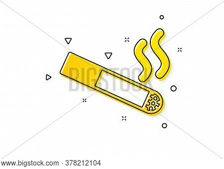 Cigarette Sign. Smoking Area Icon. Smokers Zone Symbol. Yellow Circles Pattern. Classic Smoking Icon