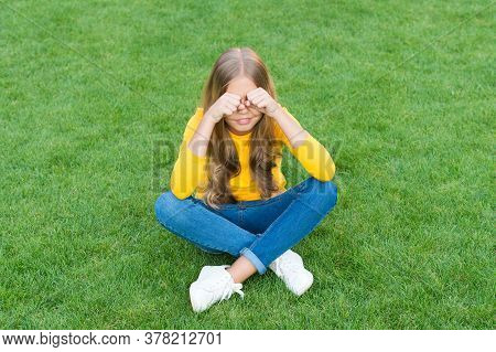 Sad Crying Little Girl Sit Alone Green Grass, Lonely Child Concept.