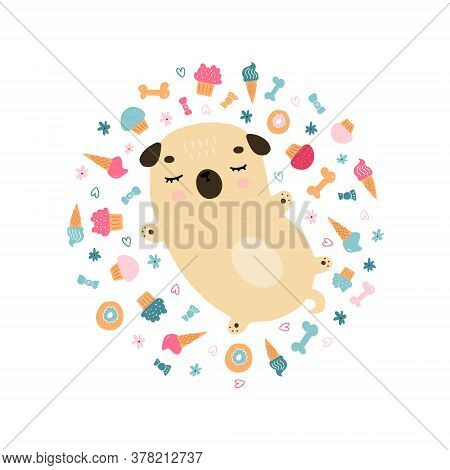 Funny Hand Drawn Cartoon Sleeping Pug On White Background. Doodle Illustration Of Little Cute Doggie