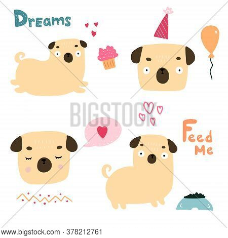 Dog, Pug Breed, Isolated Of Cute Doodle. Dog Vector Sketch Character Handmade To Print T-shirts. Kid