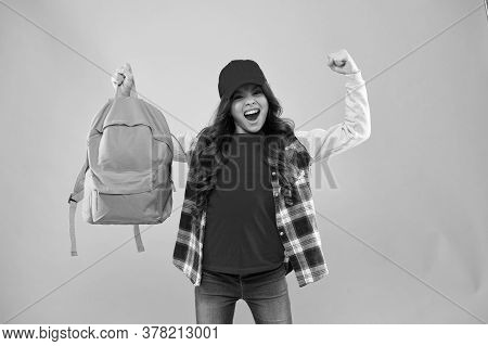 Winner Gives What It Takes. Happy Winner Hold School Bag Pink Background. School Contest Winner. Hap