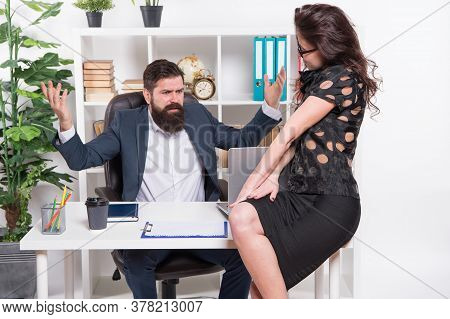 Office Secretary. Business Couple Working. Successful Business. Man And Elegant Woman Boss Manager D