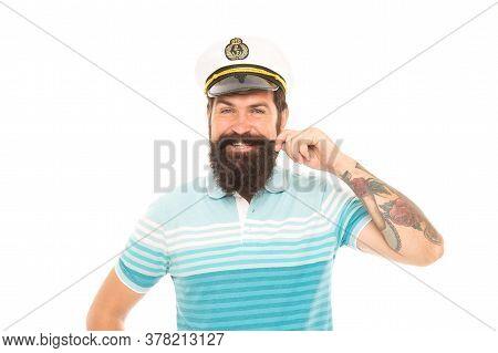 Great Captain With Great Mustache. Happy Seaman Twirl Mustache. Bearded Man Smile In Mustache. Barbe