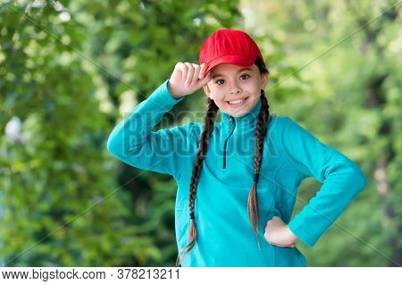 Hipster Baby. Happy Hipster Wear Snapback Natural Outdoors. Little Child Smile In Hipster Style. Hip