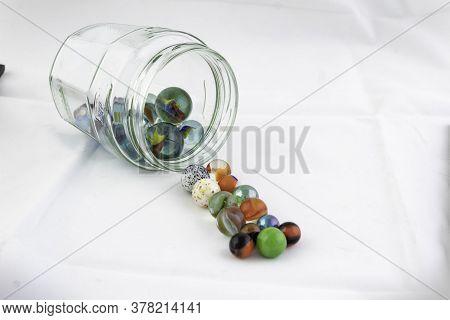 Jar Of Marbles (high Key Still Life)