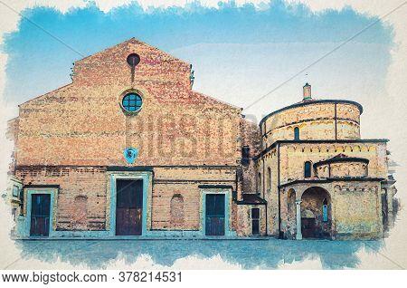 Watercolor Drawing Of Padua Cathedral, Duomo Di Padova, Basilica Cattedrale Di Santa Maria Assunta A