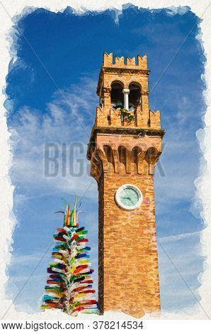 Watercolor Drawing Of Top Of Murano Clock Tower Torre Dellorologio And Colorful Christmas Tree Made