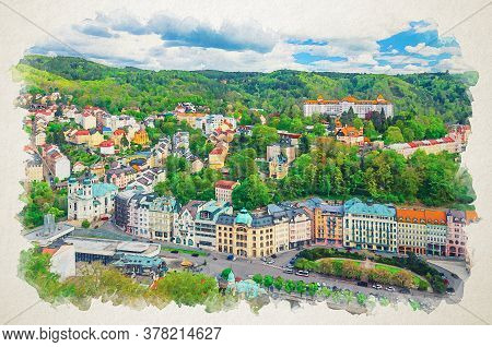 Watercolor Drawing Of Karlovy Vary Carlsbad Historical City Centre Top Aerial View With Colorful Bea