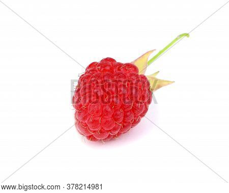 Ripe Red Raspberry With Leaves Isolated On A White Background. Healthy Organic Food. Harvest.