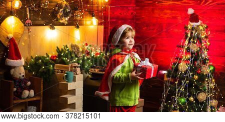 Kid Enjoy Winter Holiday At Home. Home Filled With Joy And Love. Merry Christmas And Happy New Year.