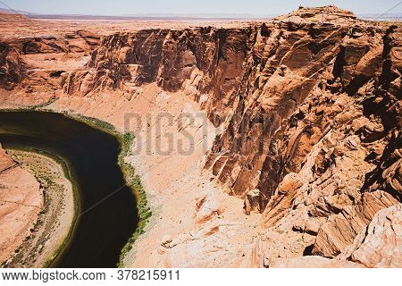 Panoramic View Of The Grand Canyon. Sunset In Canyon. Colorado River In Grand Canyon