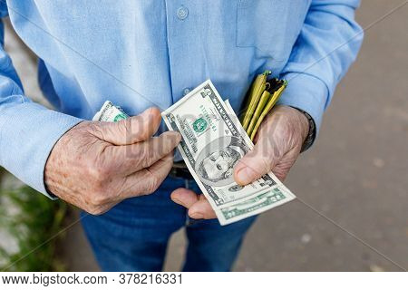 The Older Man Is Counting His Dollars. The Concept Of Last Money, Small Pension, Poor Old Age. Selec