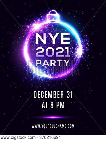 New Year Eve 2021 Party Poster On Dark Blue Background. Nye Beautiful Holiday Banner, Hanging Xmas B
