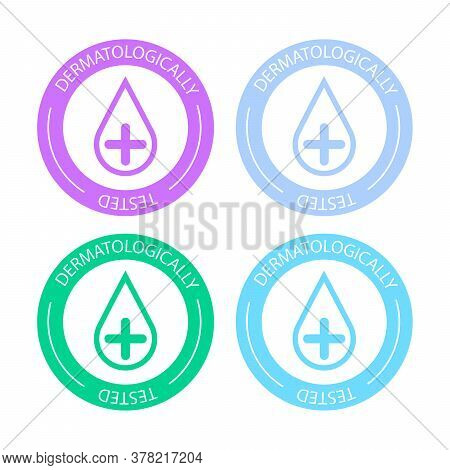 Dermatologically Tested Vector Label With Water Drop Logo. Dermatology Test And Dermatologist Clinic