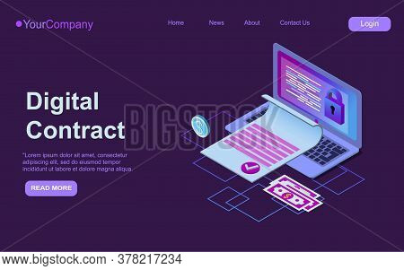 Electronic Contract Isometric Web Banner, E-signature On Document At Laptop Screen Digital Signing S