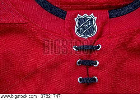 Calgary, Alberta, Canada. July 26 2020. A Close Up To A Nhl Logo On A Red Hockey Jersey.