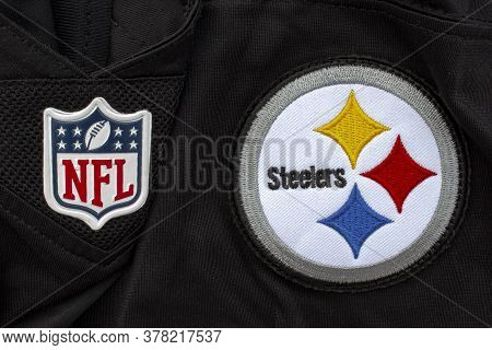 Calgary, Alberta, Canada. July 26 2020. A Close Up To A Nfl And Steelers Logo On A Black Jersey.