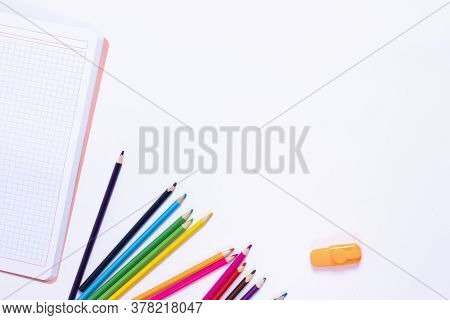 Back To School Background With Supplies And Paper Leaves, Copy-space.
