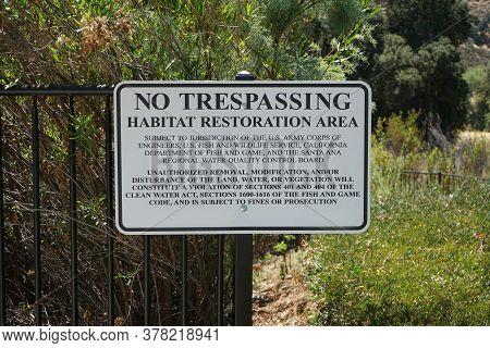 No Trespassing Sign For Habitat Restoration Area