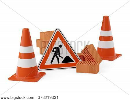 Orange Traffic Warning Cones Or Pylons With Street Or Road Construction Sign And Stone Bricks On Whi