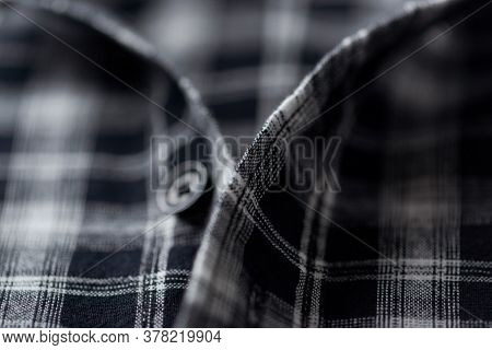 Close Up Of Men's Checkered Shirt. Fashion