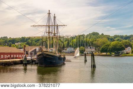 Mystic, Connecticut - June 20, 2020: Mystic Seaport, Outdoor Recreated 19th Century Village And Educ