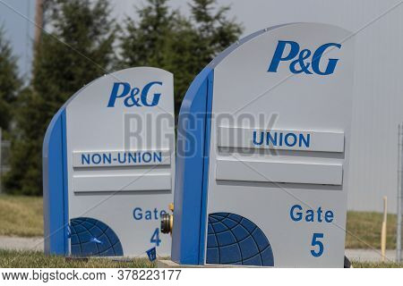 Lima - Circa July 2020: Procter & Gamble Lima Manufacturing Plant Showing Gate For Union And Non-uni