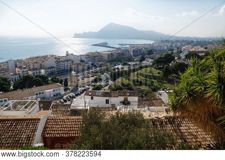 Sunlit Coast With Mountain And View Over Altea With Harbour Seen From The Old Town Outlook, Costa Bl