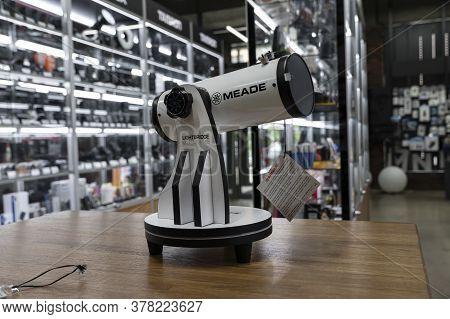 Krasnoyarsk, Russia, June 20, 2020: Meade Telescopes In The Shop Window