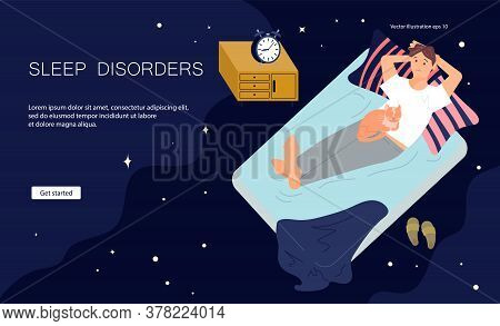 Landing Web Page Template Of Sleeping Control. Young Man Character Is Lying On Back In Bed With Inso