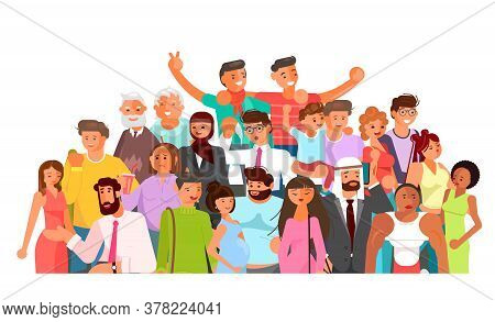 Social Diversity Crowd. Happy Old And Young Men And Women Together. Diverse Multicultural Group Of P