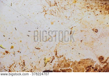 Texture Of Dirty Stains And Grease On White Stove. Dried Stains Of Fat On A White Background