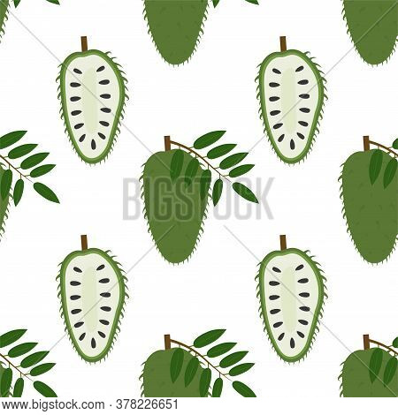 Annona, Soursop. Seamless Vector Patterns On White Background