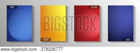 Abstract Point Faded Screen Tone Cover Templates Vector Series. School Notebook Perforated Screen To